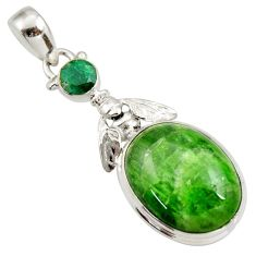 Clearance Sale- 925 silver 16.46cts natural green chrome diopside oval emerald pendant d42010