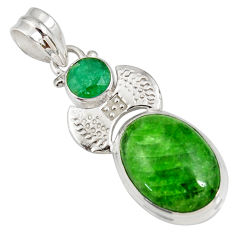 cts natural green chrome diopside oval emerald pendant d42563
