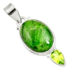 925 silver 13.67cts natural green chrome diopside oval peridot pendant d42584