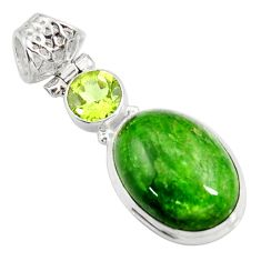 Clearance Sale- 925 silver 13.28cts natural green chrome diopside oval peridot pendant d42587