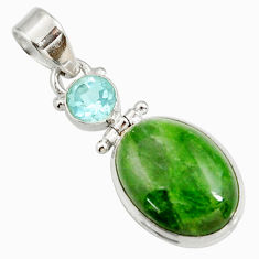 Clearance Sale- 925 silver 14.47cts natural green chrome diopside oval topaz pendant d42612
