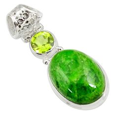 Clearance Sale- 925 silver 15.55cts natural green chrome diopside peridot pendant d42638