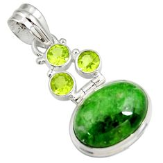 Clearance Sale- 925 silver 15.97cts natural green chrome diopside peridot pendant jewelry d42566