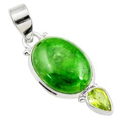 Clearance Sale- 925 silver 14.07cts natural green chrome diopside peridot pendant jewelry d42595
