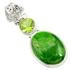Clearance Sale- 925 silver 13.67cts natural green chrome diopside peridot pendant jewelry d42616
