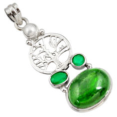 925 silver 15.33cts natural green chrome diopside tree of life pendant d42548