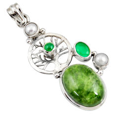 Clearance Sale- 925 silver 18.22cts natural green chrome diopside tree of life pendant d42554