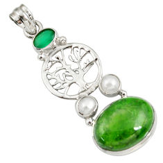 Clearance Sale- 925 silver 15.76cts natural green chrome diopside tree of life pendant d42557