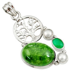 925 silver 17.77cts natural green chrome diopside tree of life pendant d42576