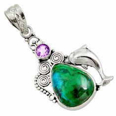 Clearance Sale- 925 silver 16.17cts natural green chrysocolla amethyst dolphin pendant d45267