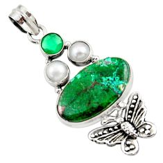 925 silver 22.55cts natural green chrysocolla pearl butterfly pendant d45269