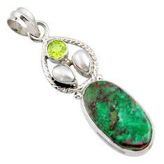 925 silver 17.93cts natural green chrysocolla peridot pearl pendant d45264