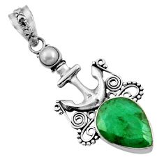 925 silver 10.69cts natural green emerald pearl anchor charm pendant d43870