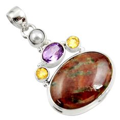 Clearance Sale- 925 silver 24.38cts natural green grass garnet amethyst citrine pendant d45287