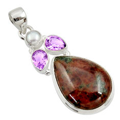 Clearance Sale- 925 silver 24.00cts natural green grass garnet amethyst pearl pendant d45299