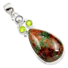 Clearance Sale- 925 silver 23.11cts natural green grass garnet peridot pearl pendant d45290