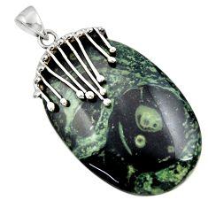 Clearance Sale- 925 silver 44.45cts natural green kambaba jasper (stromatolites) pendant d45565