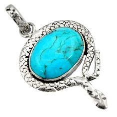 925 silver 13.28cts natural green kingman turquoise oval snake pendant d42851