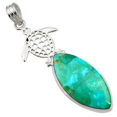 Clearance Sale- 925 silver 16.54cts natural green kingman turquoise turtle pendant d42825