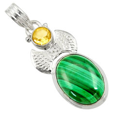 925 silver 14.88cts natural green malachite (pilot's stone) oval pendant d42758