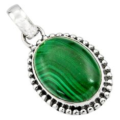 925 silver 13.28cts natural green malachite (pilot's stone) oval pendant r26508