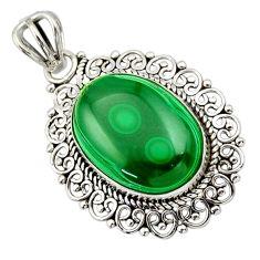 925 silver 14.23cts natural green malachite (pilot's stone) oval pendant r32287
