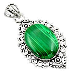 925 silver 13.70cts natural green malachite (pilot's stone) oval pendant r32350