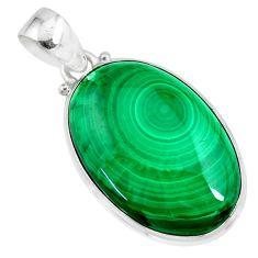 925 silver 28.73cts natural green malachite (pilot's stone) oval pendant r84643