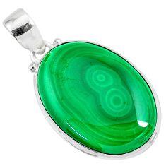 925 silver 24.38cts natural green malachite (pilot's stone) oval pendant r84664