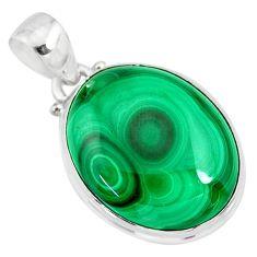 925 silver 21.97cts natural green malachite (pilot's stone) oval pendant r84671