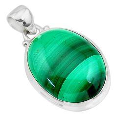 925 silver 22.02cts natural green malachite (pilot's stone) oval pendant t24840