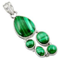 925 silver 14.84cts natural green malachite (pilot's stone) pear pendant d42764
