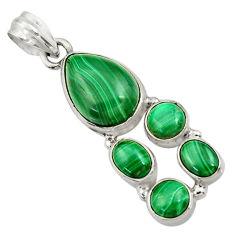 925 silver 11.23cts natural green malachite (pilot's stone) pear pendant d42774