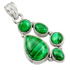 Clearance Sale- 925 silver 11.02cts natural green malachite (pilot's stone) pear pendant d42778