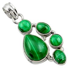 Clearance Sale- 925 silver 12.70cts natural green malachite (pilot's stone) pear pendant d42780