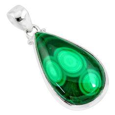 925 silver 26.14cts natural green malachite (pilot's stone) pear pendant r84655