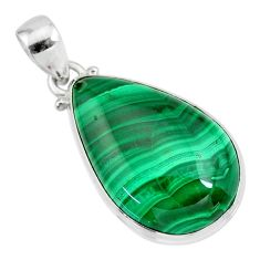 925 silver 26.06cts natural green malachite (pilot's stone) pear pendant r84669