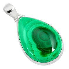 925 silver 38.14cts natural green malachite (pilot's stone) pear pendant r84678