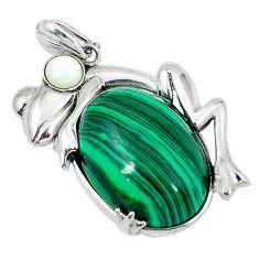 925 silver natural green malachite (pilot's stone) pearl frog pendant c22491