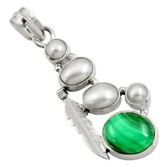 Clearance Sale- 925 silver 11.71cts natural green malachite (pilot's stone) pearl pendant d42739