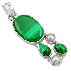 Clearance Sale- 925 silver 16.83cts natural green malachite (pilot's stone) pearl pendant d42772