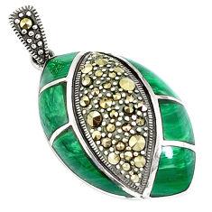 925 silver 7.04cts natural green malachite (pilot's stone) pendant c16742