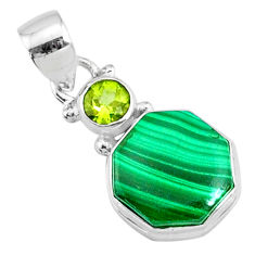 925 silver 8.73cts natural green malachite (pilot's stone) pendant r73131