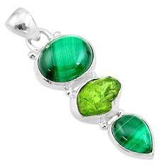 925 silver 12.06cts natural green malachite (pilot's stone) pendant t18765