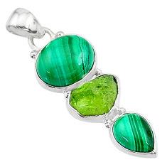 925 silver 12.96cts natural green malachite (pilot's stone) pendant t18770