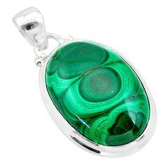 925 silver 21.48cts natural green malachite (pilot's stone) pendant t24836