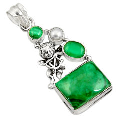 925 silver 15.35cts natural green malachite angel wings fairy pendant d42747