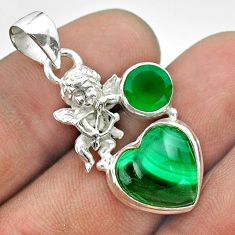925 silver 8.77cts natural green malachite chalcedony angel pendant t55464