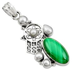 Clearance Sale- 925 silver 12.65cts natural green malachite hand of god hamsa pendant d42735