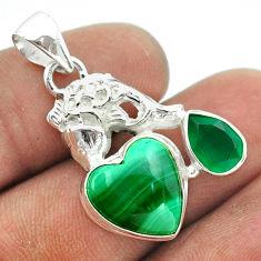 925 silver 9.42cts natural green malachite heart chalcedony fish pendant t55412
